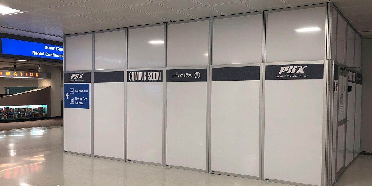 temporary walls in Denver airport