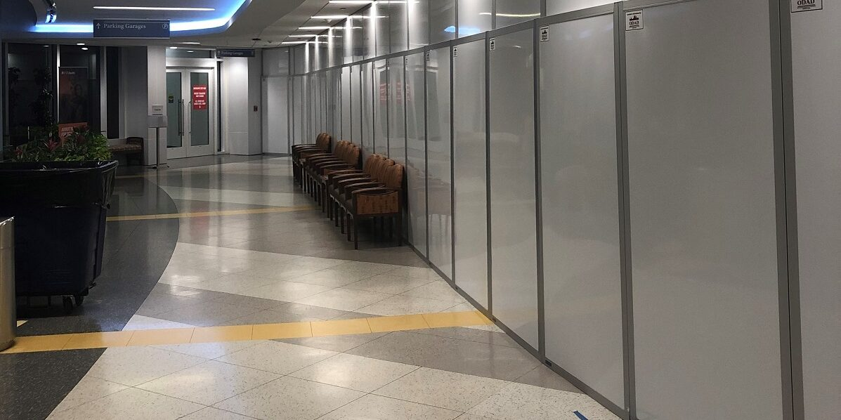 Temporary containment walls in lobby
