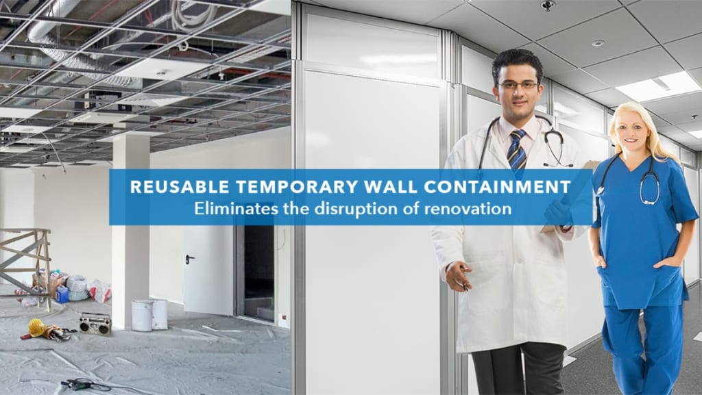 reusable temporary wall containment banner